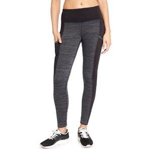Athleta Fleece Lined Leggings Black Gray Spacedye